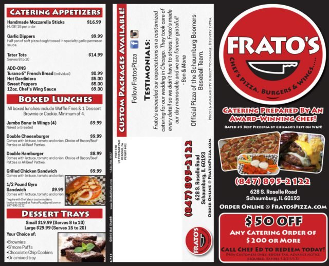 Frato's Pizza Flyer