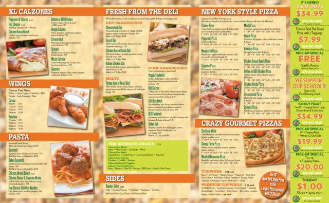 The Crazy Tomato Pizzeria Menu - Inside
