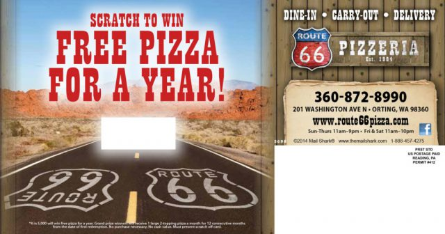 Route 66 Pizzeria Postcard Scratch-Off