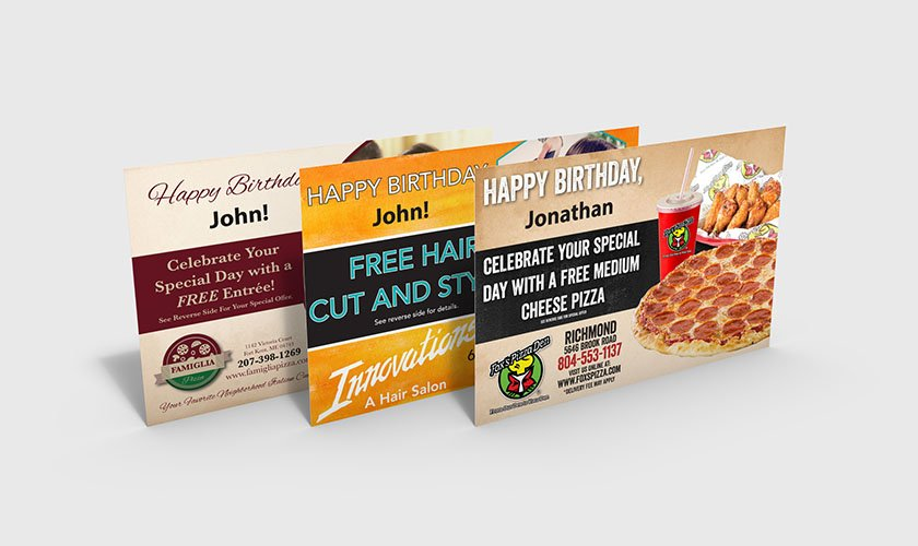 Restaurant and Beauty Birthday Postcard Mailers